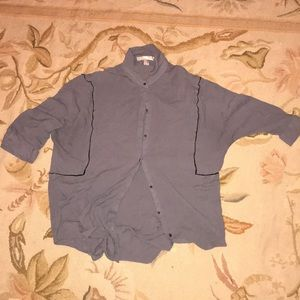 Gray blouse with black trim